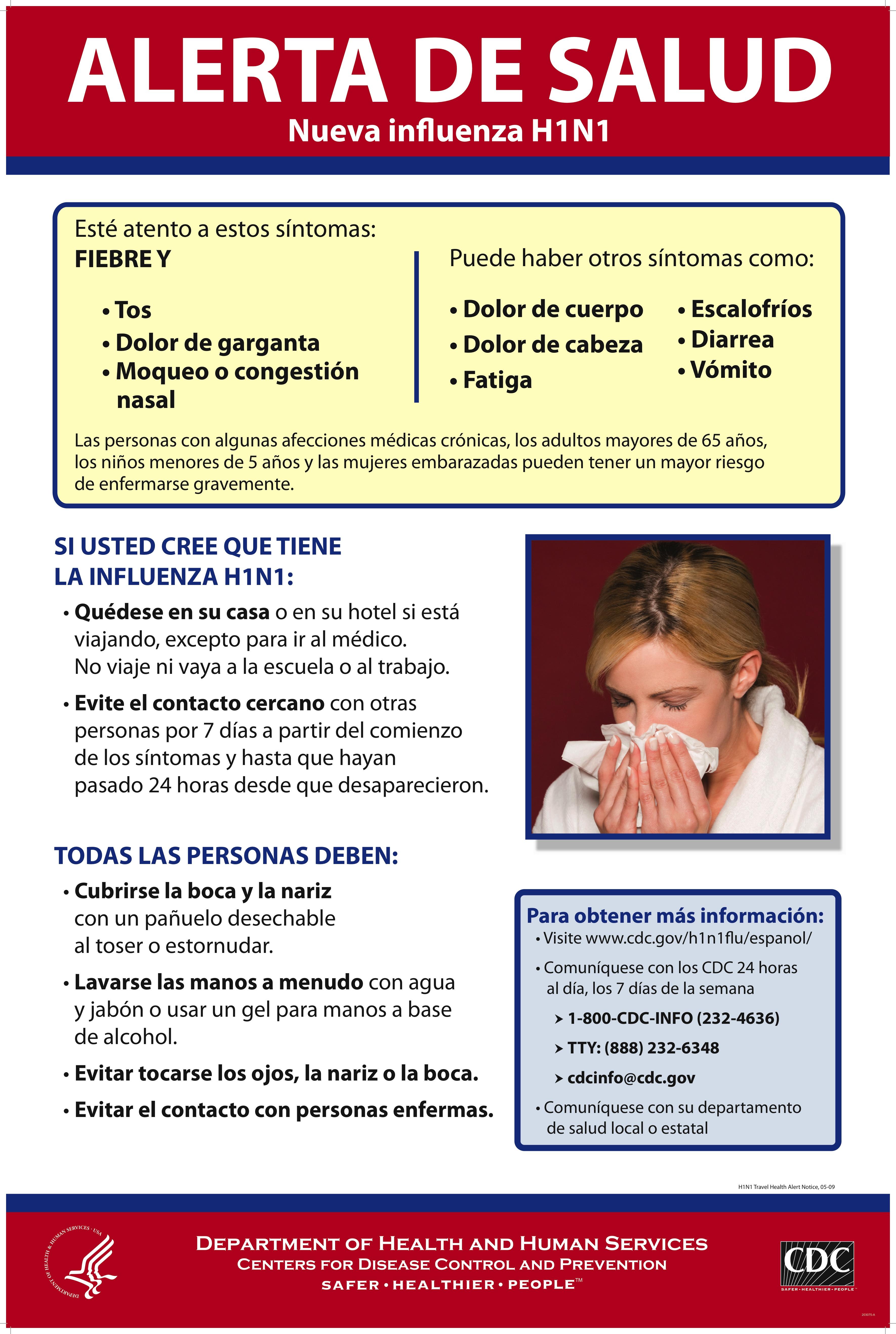 cartel de los cdc sobre la influenza a h1n1
